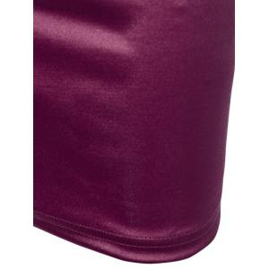 Lace Panel Satin Ruched Cocktail Dress -