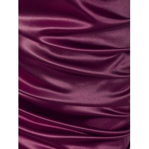 Lace Panel Satin Ruched Sheath Cocktail Dress -