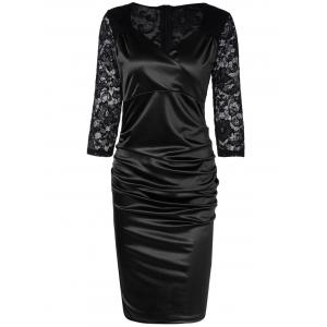 Lace Panel Satin Ruched Cocktail Dress