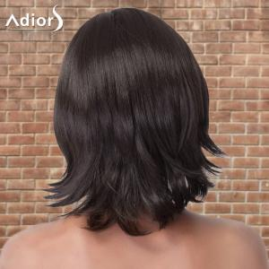 Adiors Medium Straight Side Parting Tail Upwards Synthetic Wig - BLACK