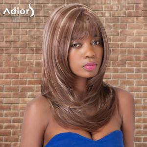 Adiors Long Highlight Straight Inclined Bang Tail Adduction Synthetic Wig -