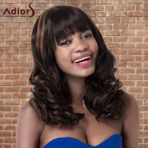 Adiors Highlight Long Shaggy Wavy Neat Bang Synthetic Wig - COLORMIX