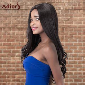 Adiors Long Shaggy Wavy Side Parting Synthetic Wig - BLACK