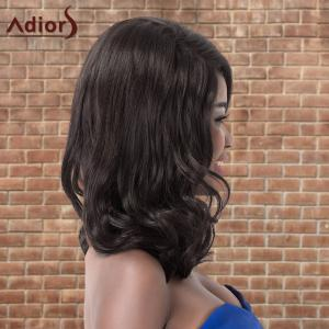 Adiors Long Fluffy Wavy Side Parting Synthetic Wig - BLACK