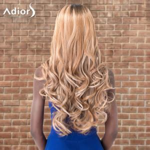 Adiors Long Shaggy Wavy Middle Parting Highlight Synthetic Wig -