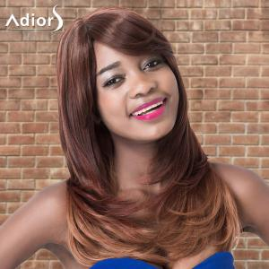 Adiors Long Oblique Bang Straight Tail Adduction Ombre Synthetic Wig -