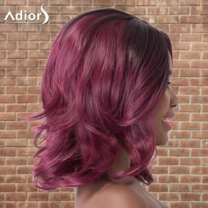 Adiors Medium Side Parting Wavy Colormix Synthetic Wig - PURPLE