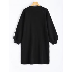 Cow Badge Embroidery Applique Long Sleeve Casual Dress -