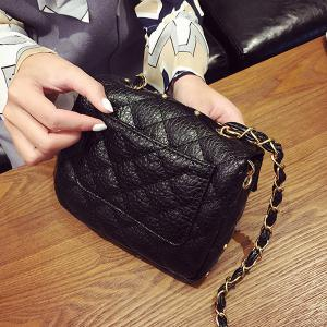 Chains Rivet Quilted Crossbody Bag - BLACK