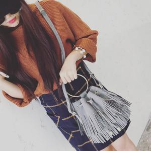 Faux Suede Metal Ring Fringe Bucket Bag -
