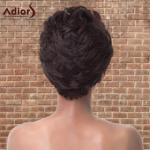 Adiors Short Highlights Fluffy Straight Synthetic Wig - BLACK/BROWN