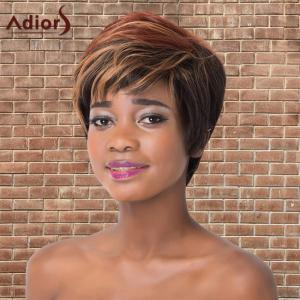 Adiors Short Full Bang Fluffy Mixed Color Straight Synthetic Wig - Colormix