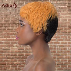 Adiors Synthetic Short Double Color Full Bang Straight Wig - BLACK/GOLDEN