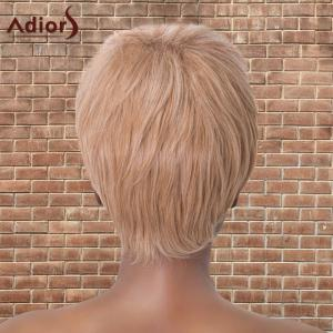 Adiors Short Neat Bang Double Color Straight Synthetic Wig - WHITE AND ROSE GOLD