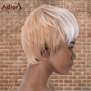 Adiors Short Neat Bang Double Color Straight Synthetic Wig - WHITE/ROSE GOLD