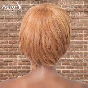 Adiors Short Shaggy Full Bang Straight Synthetic Wig - GOLD BROWN
