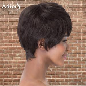 Refreshing Short Side Bang Straight Synthetic Adiors Wig - BLACK