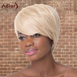 Refreshing Short Oblique Bang Straight Synthetic Adiors Wig - BEIGE