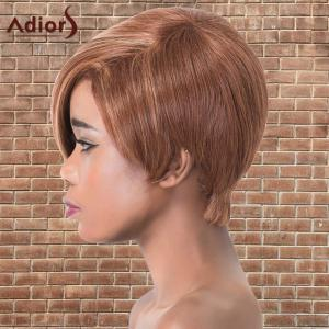 Short Oblique Bang Highlights Straight Synthetic Adiors Wig - COLORMIX
