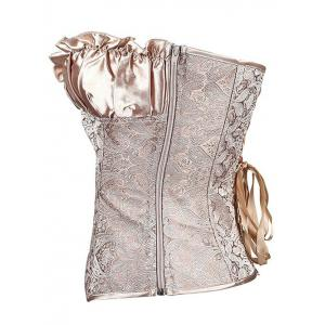 Ruffled Lace Up Jacquard Panel Corset - GOLDEN 6XL