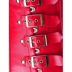 Cupless Buckle Rivet Leather Corset - RED 6XL