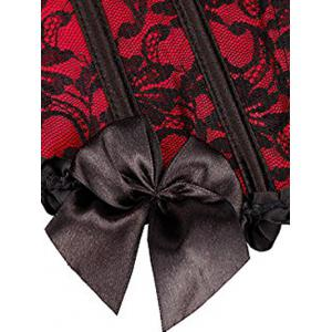 Bowknot Lace Steel Boned Corset - RED 6XL