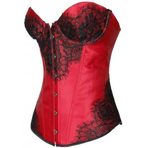 Lace-Up Lace Panel Corset - DEEP RED 2XL
