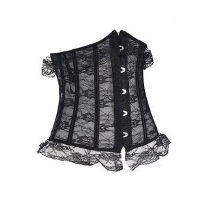Underbust Flower Lace Corset - BLACK 2XL
