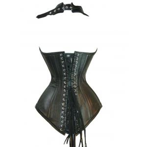 PU Leather Lace-Up Corset Top - BLACK 3XL
