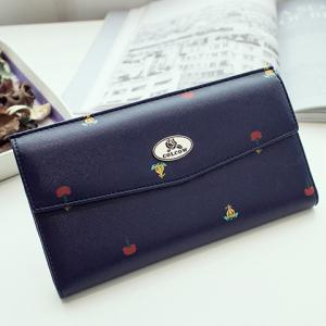 Printed PU Leather Clutch Wallet - DEEP BLUE