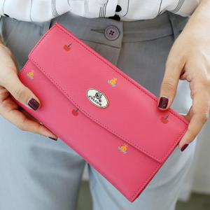 Printed PU Leather Clutch Wallet - ROSE RED