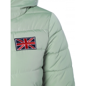Winter England Flag Embroidery Hooded Down Jacket -