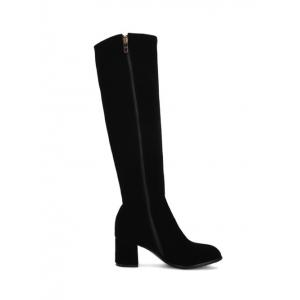 Metal Zip Chunky Heel Knee High Boots