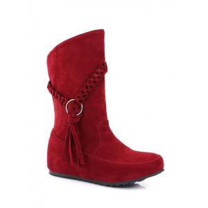 Hidden Wedge Tassels Weave Mid Calf Boots