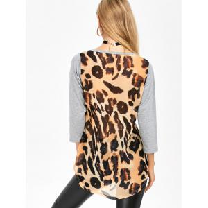 High Low Leopard Spliced Pocket T-Shirt -
