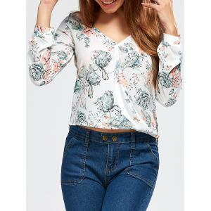 V Neck High Low Floral Surplice Blouse - White - S