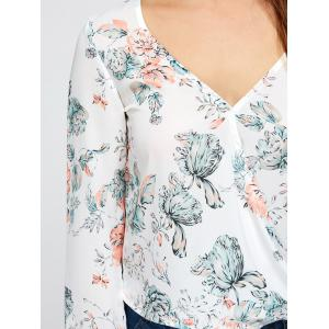V Neck High Low Floral Surplice Blouse - WHITE S