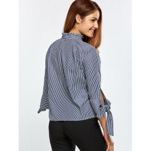 Stand Neck Striped Back Buttons Blouse - BLUE AND WHITE S