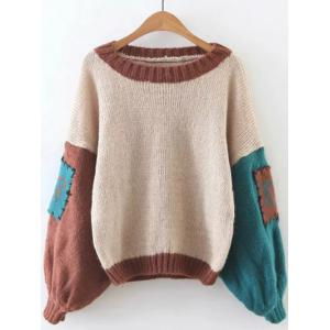 Retro Patched  Lantern Sleeve Sweater