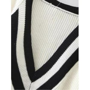 Ribbed  Plunge Neck Cricket Sweater - BEIGE ONE SIZE