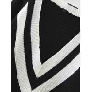 Ribbed  Plunge Neck Cricket Sweater - BLACK ONE SIZE