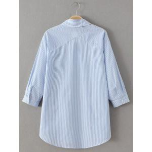 Slit Striped Lace Up Shirt - BLUE AND WHITE L