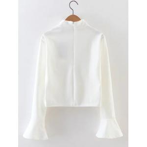 Bell Sleeve High Neck Crop Top - WHITE L