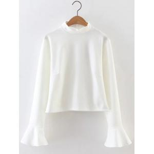 Bell Sleeve High Neck Crop Top - White - S