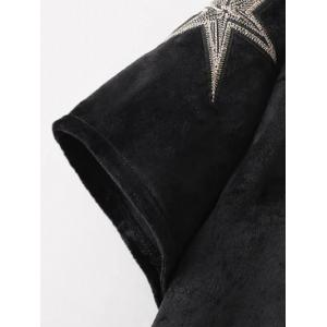 Stars Embroidered Crop Tee Shirt - BLACK L
