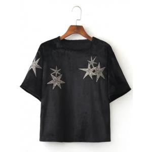 Stars Embroidered Crop Tee Shirt - Black - M