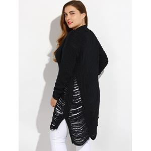 High Low Ripped Plus Size Crew Neck Sweater - BLACK XL