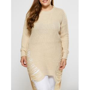 High Low Ripped Plus Size Crew Neck Sweater - Palomino - Xl