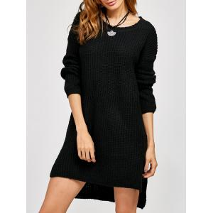 High Low Slit Sweater Dress - Black - One Size