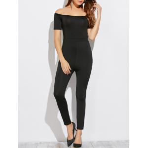 Off The Shoulder Slim Jumpsuit - Black - M